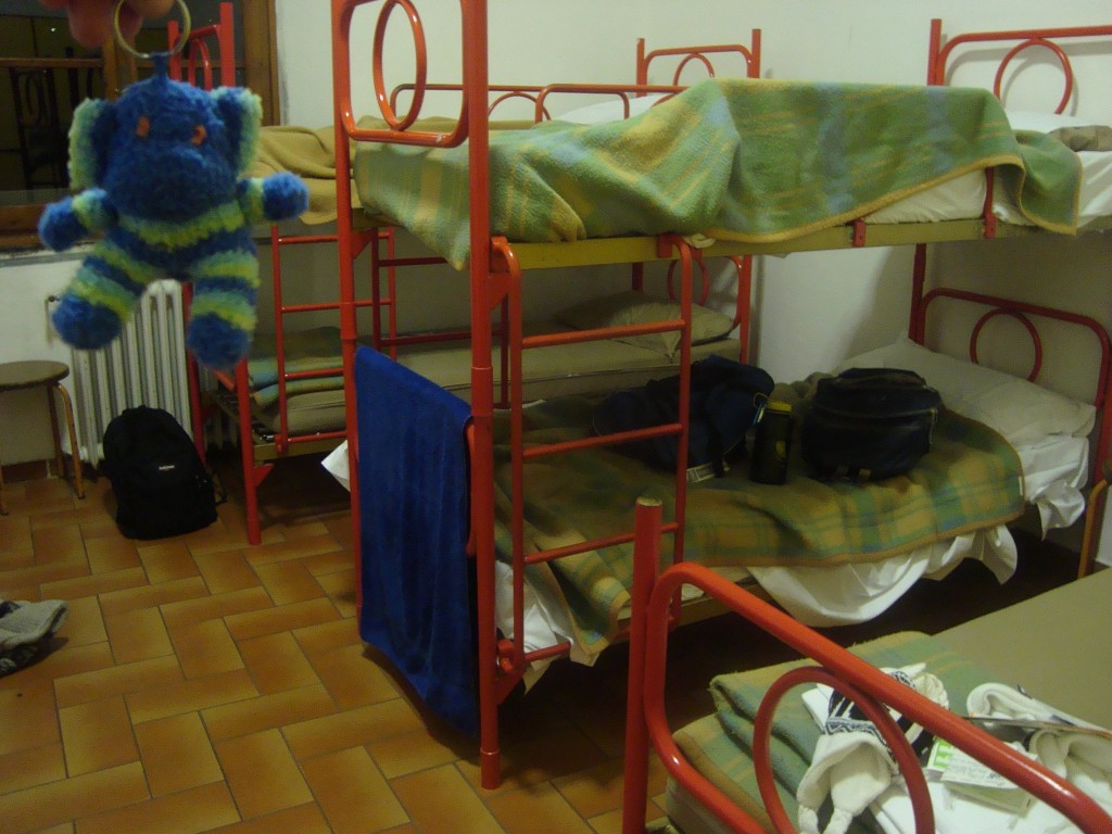 My hostal accommodations in Italy, with my traveling sock money.