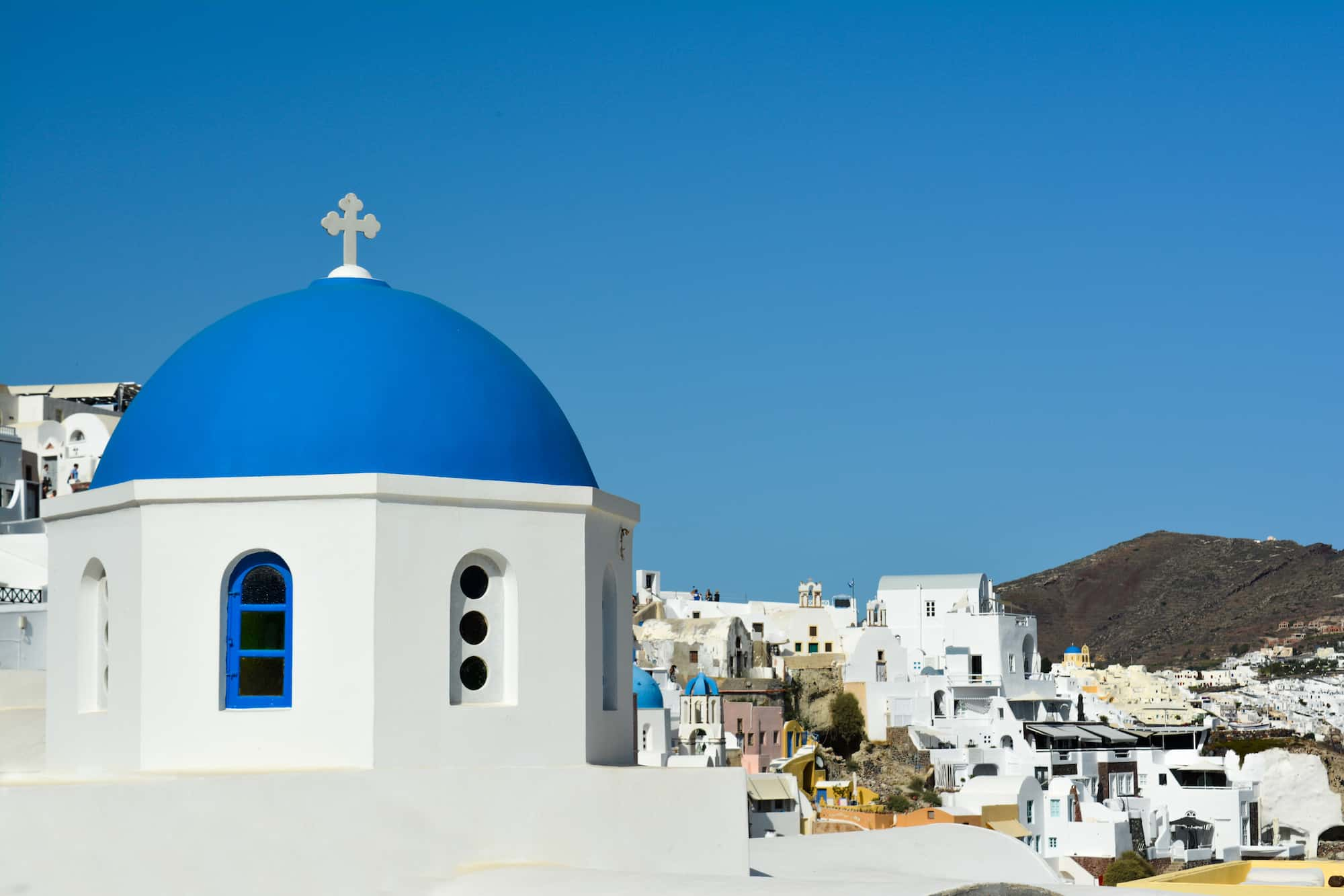 Cuplula azul en Santorini