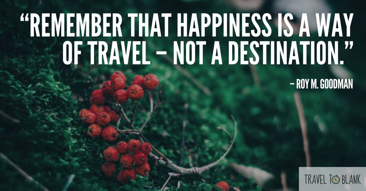 "4."" Remember that happiness is a way of travel- Not a destination."" - Roy M. Goodman-"