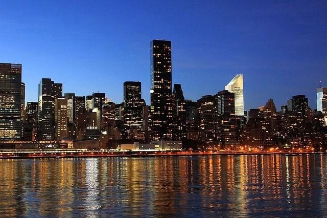 Skyline at night of New York City