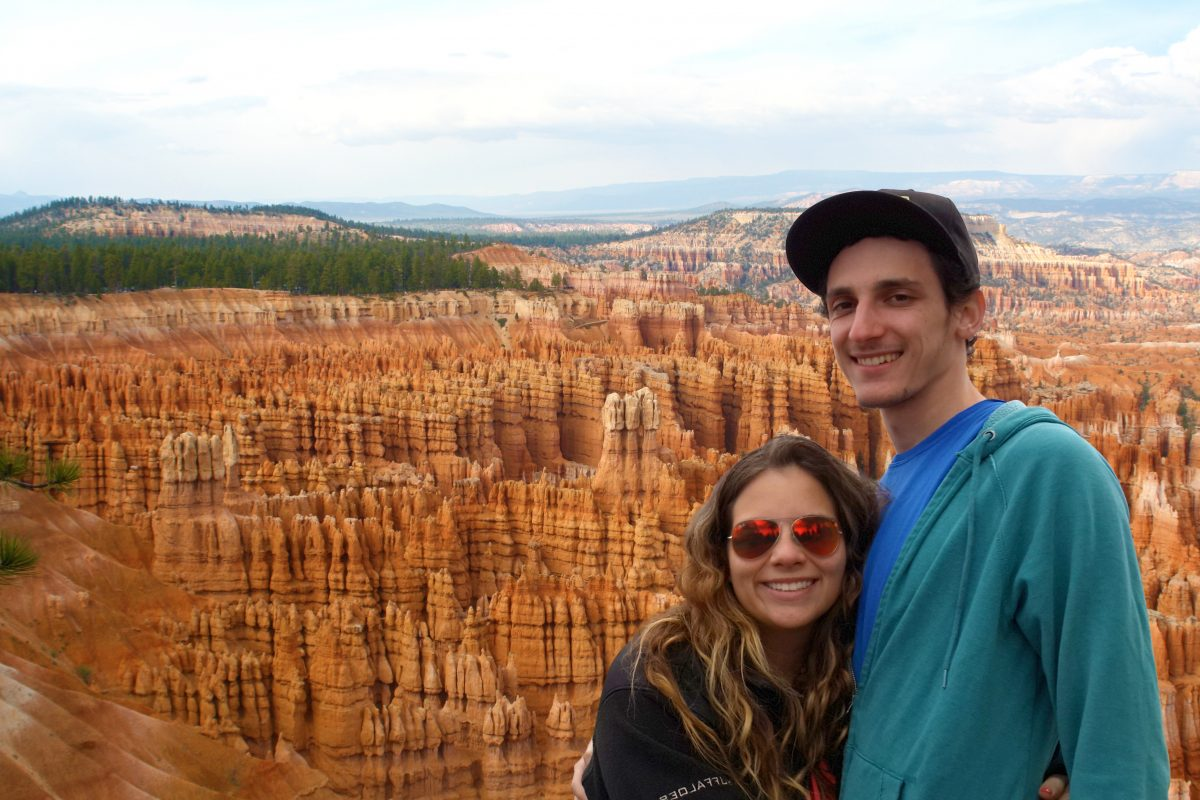 Couple smiling at Bryce Canyon National Park