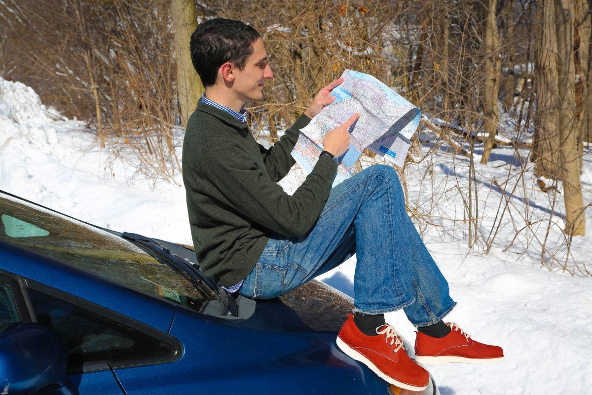 Sitting on the car wearing his Rust NubuckHubbard Free