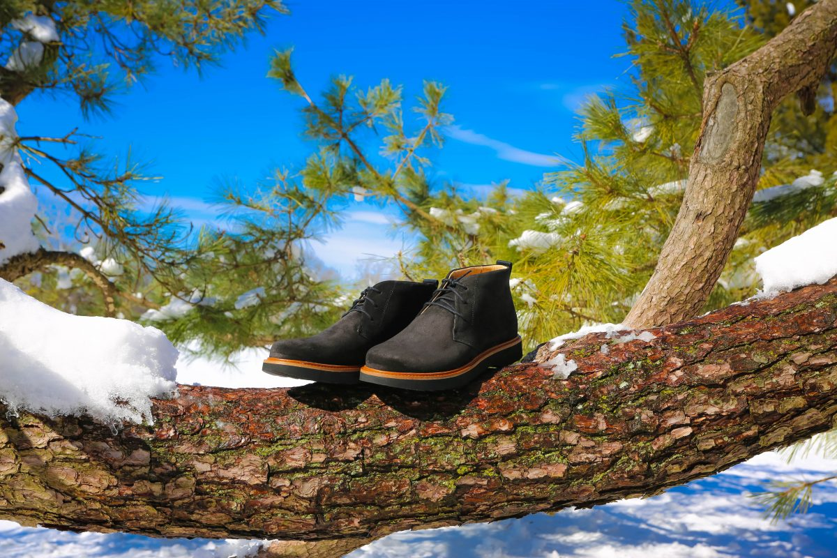 Shoes in the snow for winter