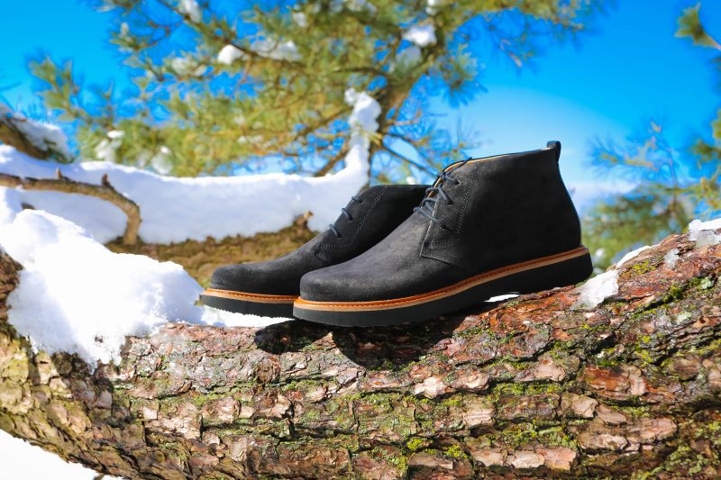 Black shoes on tree and snow