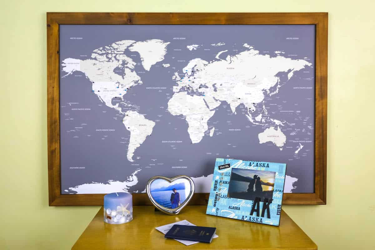 Large world push pin map with classic frame Review Travel To – Travel Pin Map Online