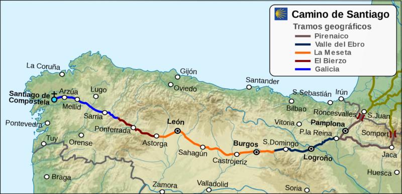 Mapa del Camino de Santiago provisto por Wikipedia