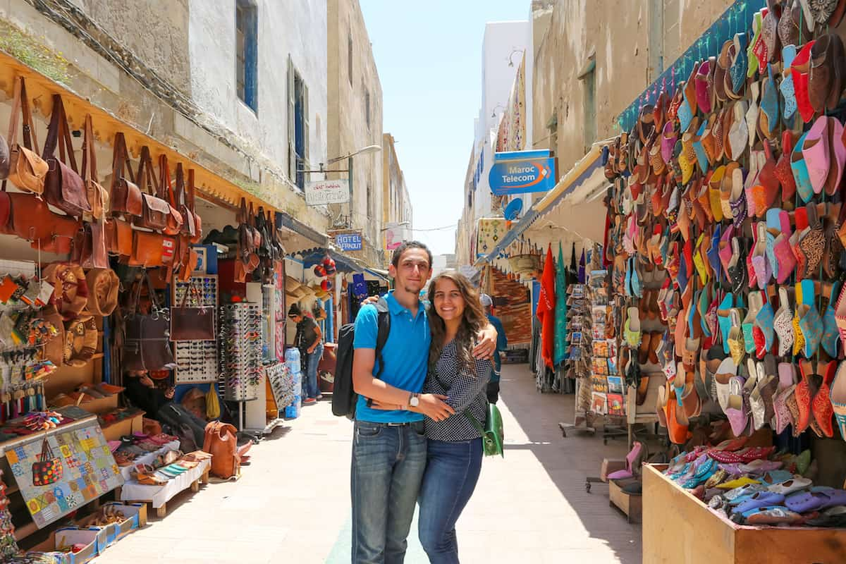 a couple in the Essaouira's Medina.