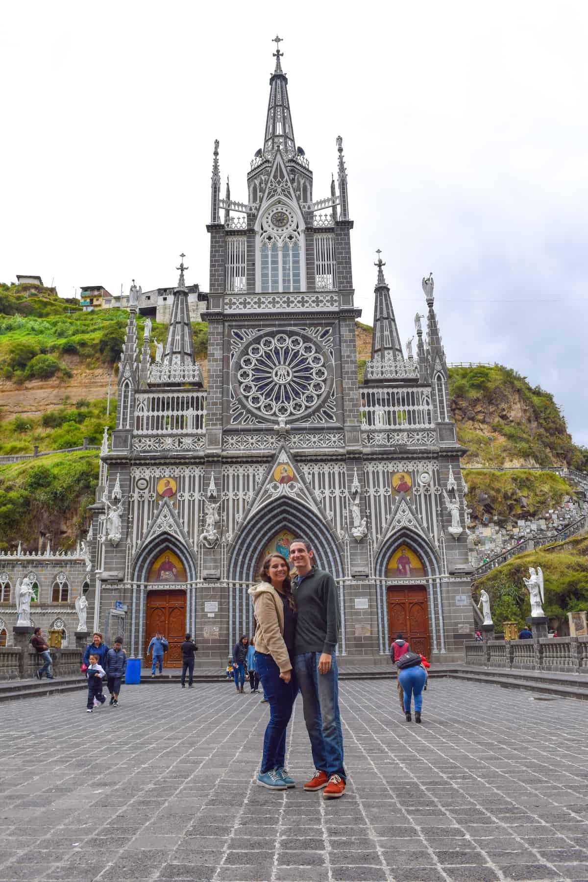 Facade of Las Lajas Sanctuary near of Ipiales, Colombia