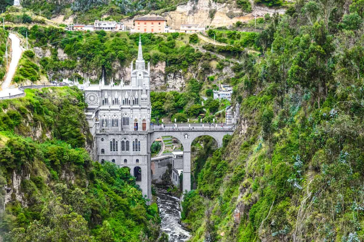 Las Lajas Cathedral across river