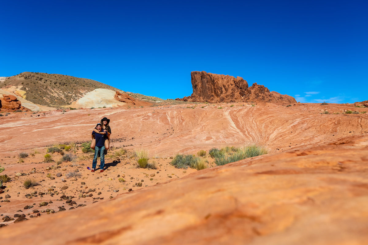 Couple together in Valley of Fire State Park in Nevada
