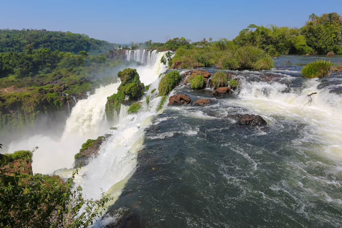 best panoramic views of all of the Argentinian side of Iguazu Falls from Devil's Throat