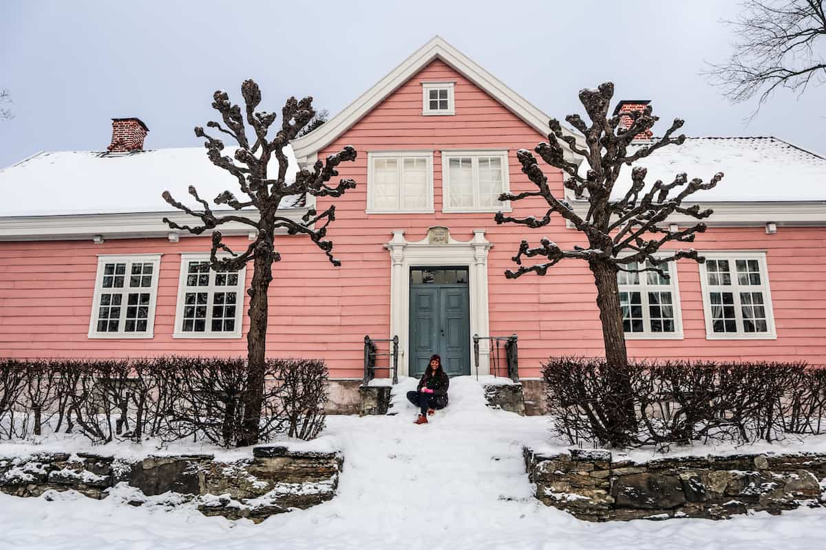 Norwegian Museum of Cultural History pink house two trees