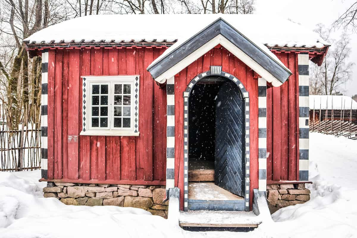 Norwegian Museum of Cultural History red house snow