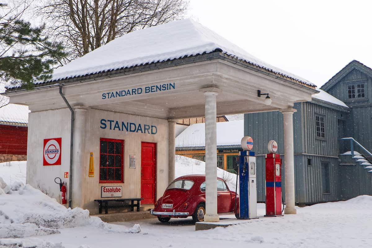 Norwegian Museum of Cultural History snowing gas station
