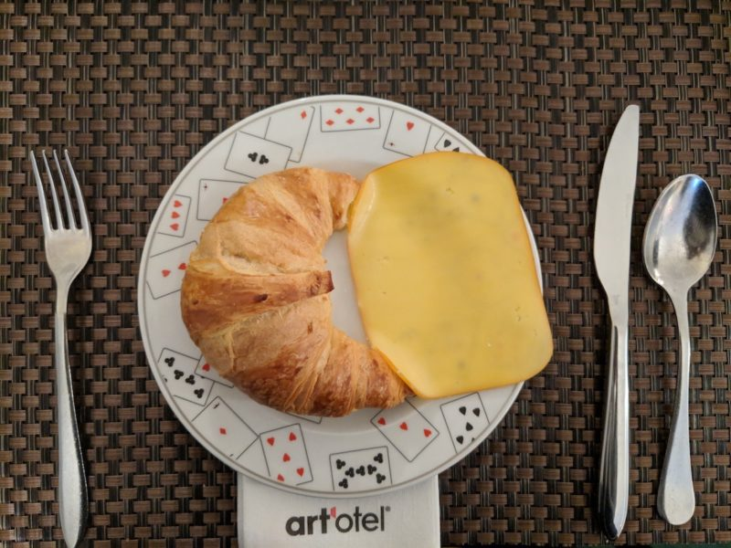 Art'Otel Budapest breakfast cheese and bread