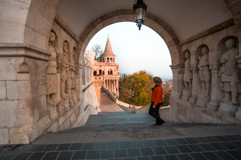 Fisherman's Bastion during sunrise