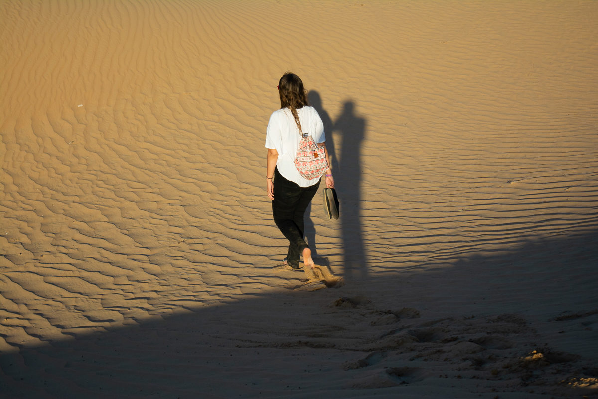 Dubai Desert Sand Dunes walking away
