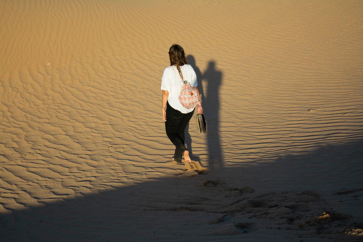 Dubai Desert Sand Dunes walking away
