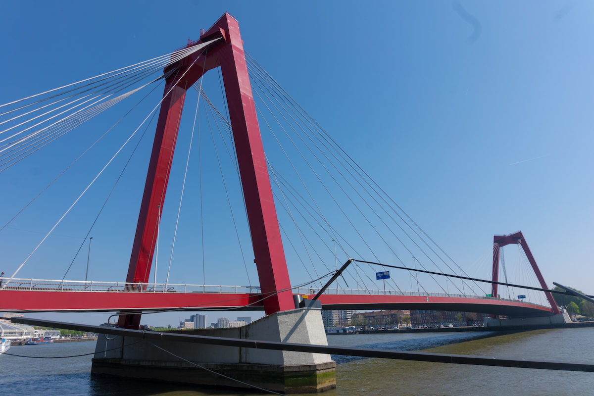 The Erasmus bridge and Willemsbrug bridge