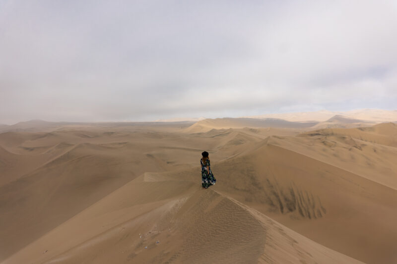 Huacachina walking in the sand dunes