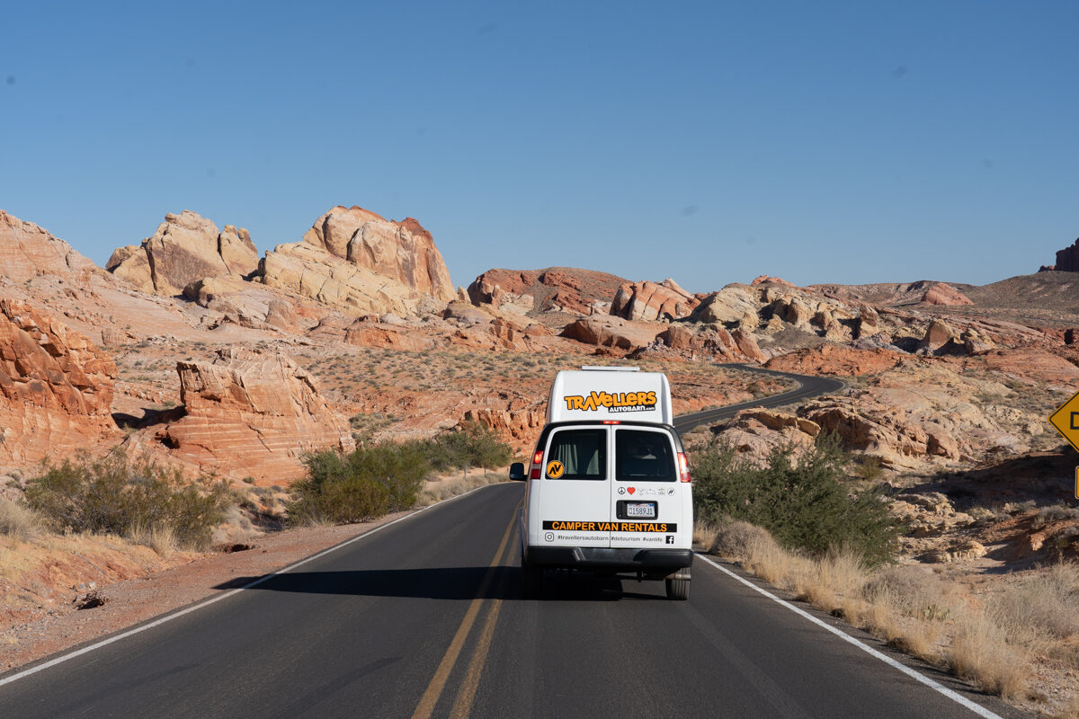 Van going through Valley of Fire State Park in Nevada